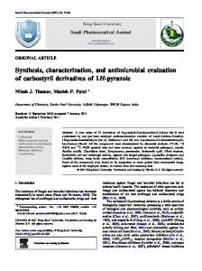 Synthesis, characterization, and antimicrobial ... - CyberLeninka