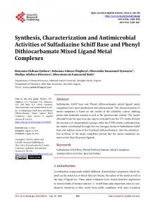 Synthesis, Characterization and Antimicrobial