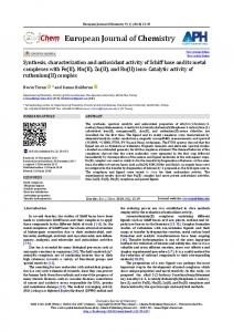 Synthesis, characterization and antioxidant activity of Schiff base and ...