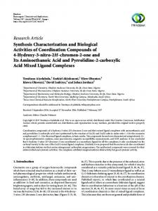 Synthesis Characterization and Biological Activities of Coordination ...