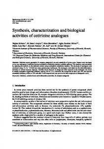 Synthesis, characterization and biological activities of cetirizine ...