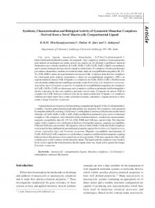 Synthesis, characterization and biological activity of symmetric ...