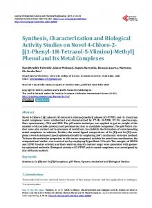 Synthesis, Characterization and Biological Activity ...