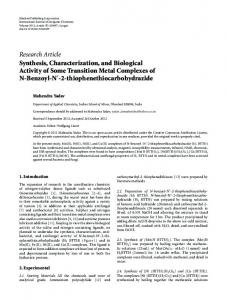 Synthesis, Characterization, and Biological Activity of Some Transition ...