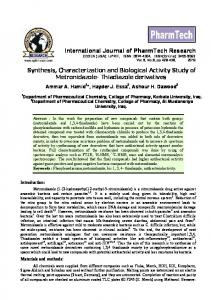 Synthesis, Characterization and Biological Activity Study of