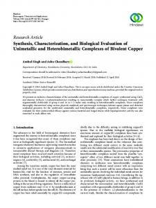 Synthesis, Characterization, and Biological Evaluation of Unimetallic ...
