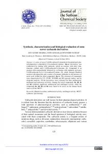 Synthesis, characterization and biological evaluation of ... - doiSerbia