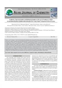 Synthesis, Characterization and Biological Studies of