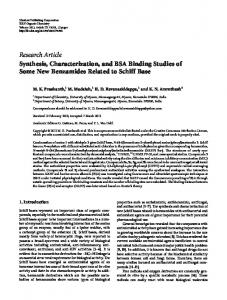 Synthesis, Characterization, and BSA Binding Studies of Some New