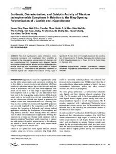 Synthesis, characterization, and catalytic activity ... - Wiley Online Library