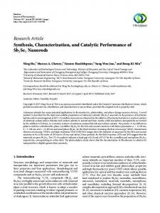 Synthesis, Characterization, and Catalytic Performance of Sb2Se3