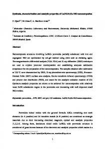 Synthesis, characterization and catalytic properties of ...
