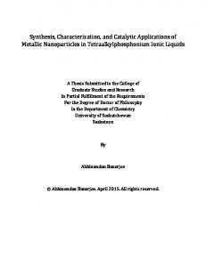 Synthesis, Characterization, and Catalytic