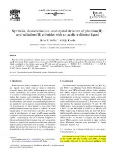 Synthesis, characterization, and crystal structure of ...