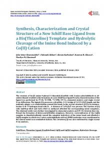 Synthesis, Characterization and Crystal Structure of a New Schiff Base ...