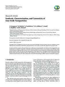 Synthesis, Characterization, and Cytotoxicity of Iron Oxide Nanoparticles