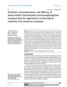 Synthesis, characterization, and efficacy of ... - Semantic Scholar