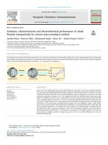 Synthesis, characterization and electrochemical performance of cobalt
