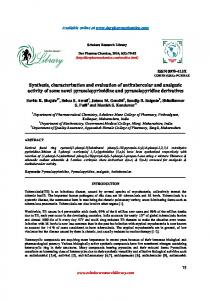 Synthesis, characterization and evaluation of antitubercular and ...