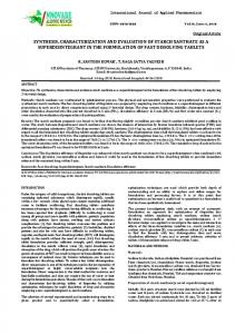 synthesis, characterization and evaluation of starch