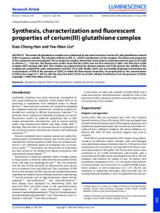Synthesis, characterization and fluorescent ... - Wiley Online Library