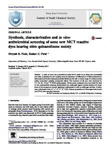 Synthesis, characterization and in vitro antimicrobial screening ... - Core