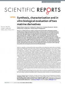 Synthesis, characterization and in vitro biological