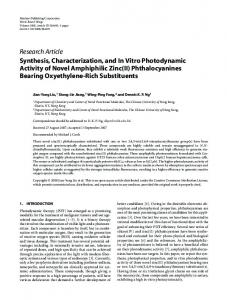 Synthesis, Characterization, and In Vitro