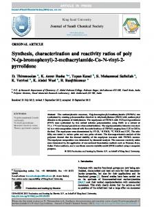 Synthesis, characterization and reactivity ratios of poly N - CyberLeninka