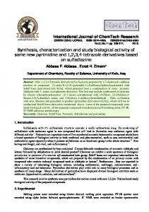 Synthesis, characterization and study biological activity of some new