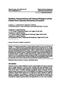 Synthesis, Characterization and Testing of Biological Activity of Some