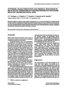 synthesis, characterization and thermal behaviour of ... - Springer Link