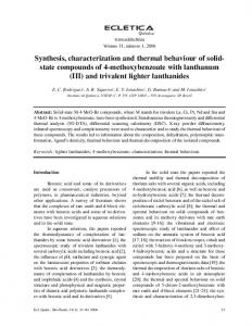 Synthesis, characterization and thermal behaviour of solid ... - SciELO