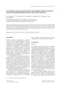 synthesis, characterization and thermal behaviour of
