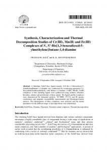 Synthesis, Characterization and Thermal Decomposition Studies of Cr