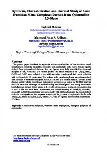 Synthesis, Characterization and Thermal Study of