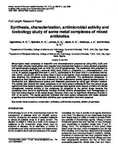 Synthesis, characterization, antimicrobial activity and toxicology study ...