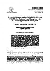 Synthesis, Characterization, Biological Activity and