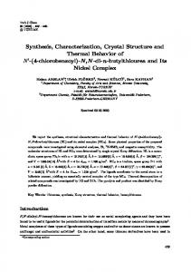 Synthesis, Characterization, Crystal Structure and Thermal ... - DergiPark