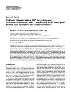Synthesis, Characterization, DNA Interaction, and Antitumor Activities ...
