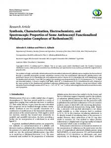 Synthesis, Characterization, Electrochemistry, and Spectroscopic