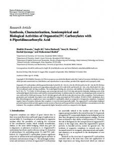 Synthesis, Characterization, Semiempirical and Biological Activities of ...