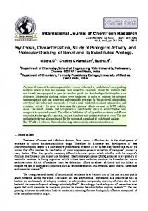 Synthesis, Characterization, Study of Biological Activity and Molecular ...