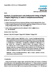 Synthesis, Crystal Structure and Antibacterial