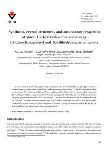Synthesis, crystal structure, and antioxidant properties of novel 1,2,4 ...