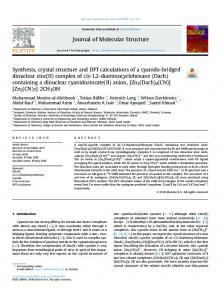 Synthesis, crystal structure and DFT calculations of a