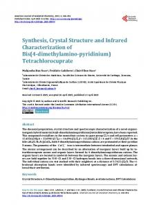 Synthesis, Crystal Structure and Infrared Characterization of Bis(4 ...