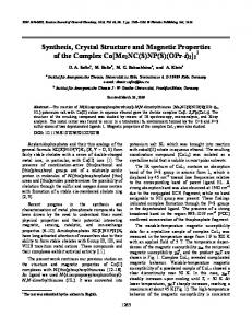 Synthesis, Crystal Structure and Magnetic Properties of ... - Springer Link