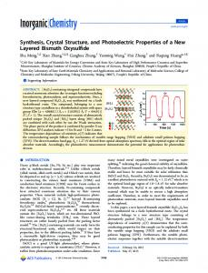 Synthesis, Crystal Structure, and Photoelectric ... - ACS Publications