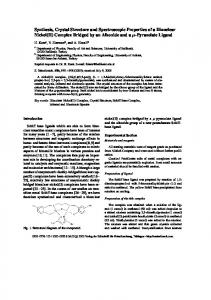 Synthesis, Crystal Structure and Spectroscopic ... - Semantic Scholar